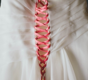 Pink Corset Laces in Wedding Dress