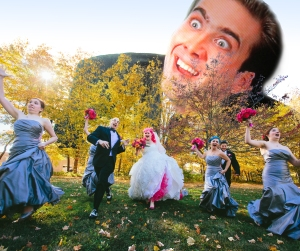 Nick Cage chases wedding party