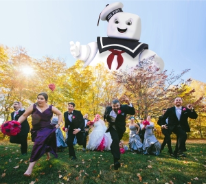 Staypuft Marshmallow Man chases Wedding Party