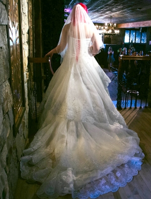 A pink haired bride, poto taken from behind, long train, walking